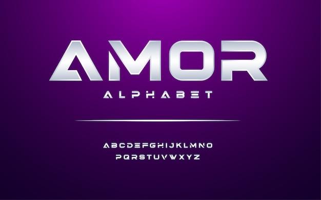 Modern alfabet lettertype. typografie moderne stijl weergave lettertype.