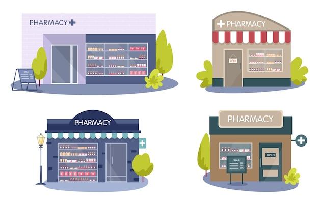 Modern apotheekgebouw exterieur. geneesmiddelen en medicijnen bestellen en kopen. gezondheidszorg en medische behandeling concept.