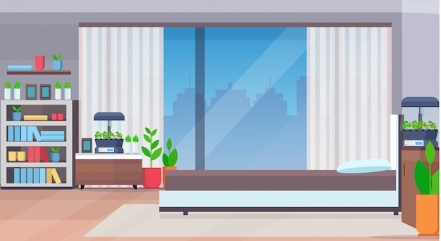 Modern appartement slaapkamer interieur met thuis elektronische terrarium glazen container kamerplanten groeiend concept plat horizontaal