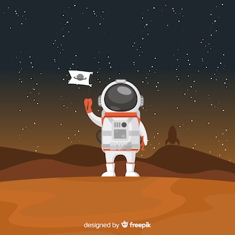Modern astronautenkarakter met vlak ontwerp