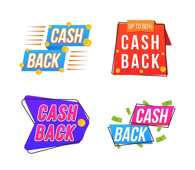 Modern bannerontwerp met een set cashback-tags