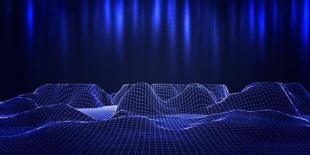 Modern bannerontwerp met futuristisch draadframe terreinontwerp