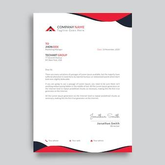 Modern bedrijf briefhoofd ontwerpsjabloon met rode vormen