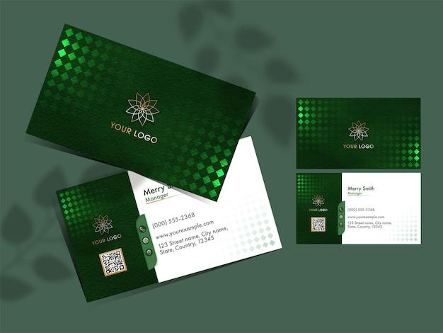 Modern bedrijf of visitekaartjeontwerp in groene en witte kleur