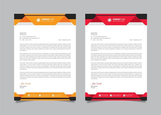 Modern bedrijf zakelijke briefhoofd ontwerpsjabloon ingesteld met rode en gele kleurvormen