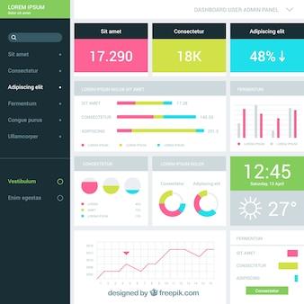 Modern beheerdersdashboard met plat ontwerp