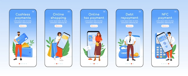 Modern belastingbetalingssysteem onboarding mobiele app scherm platte sjabloon. financiële technologie walkthrough website stappen met karakters. ux, ui, gui smartphone cartoon-interface, case prints ingesteld
