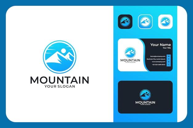 Modern bergcirkel logo-ontwerp en visitekaartje