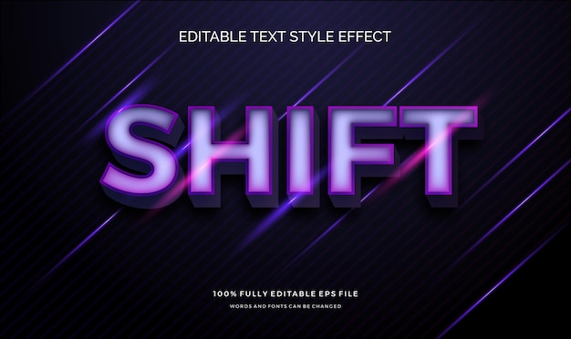 Modern bewerkbaar teksteffect met glanzende levendige moderne kleuren
