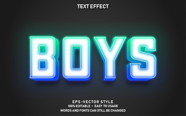 Modern bewerkbaar tekststijleffect boys premium