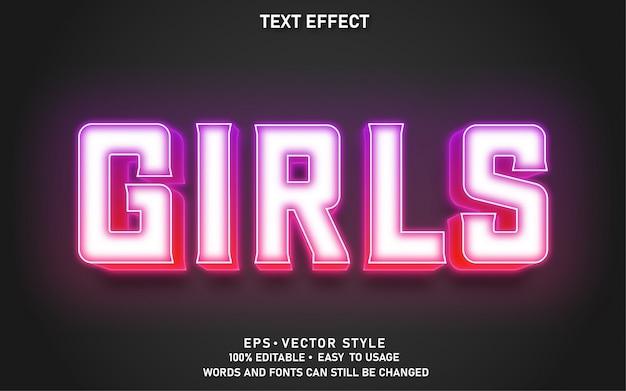 Modern bewerkbaar tekststijleffect meisjes