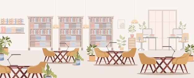Modern bibliotheekinterieur met plankenrekken met boekencomputers