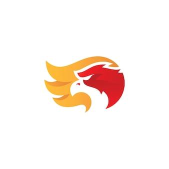 Modern bird eagle falcon of hawk head en wing logo design met kleurrijke gradiëntkleur