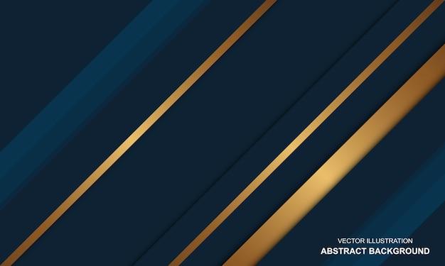 Modern blauw en gouden luxeontwerp als achtergrond