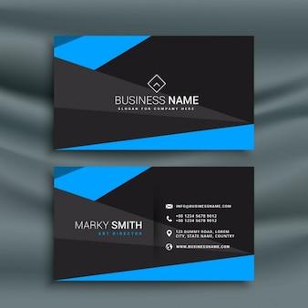 Modern blauw en zwart donker adreskaartje