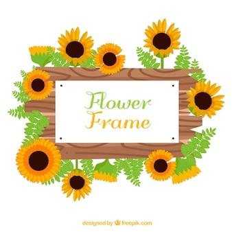 Modern bloemenframe met zonnebloemen