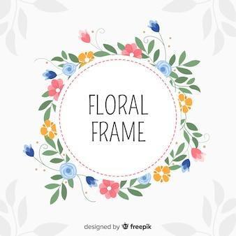 Modern bloemenkader met hand getrokken stijl