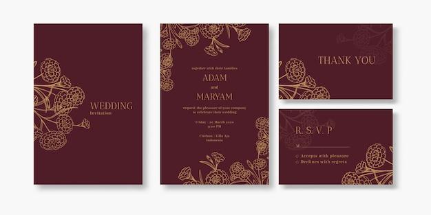Modern bloemenoverzicht hand getrokken luxe bruiloft uitnodiging ontwerp of kaartsjablonen voor bruiloft