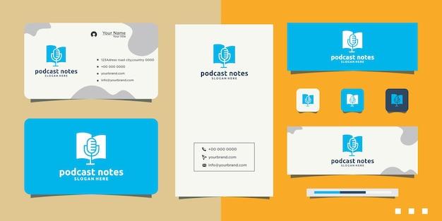 Modern boek podcast logo en visitekaartje ontwerp