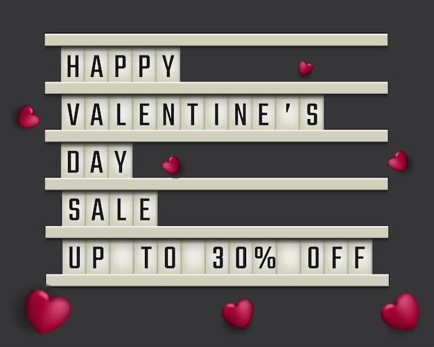 Modern bord met de tekst 'happy valentines day sale' op een grijze achtergrond
