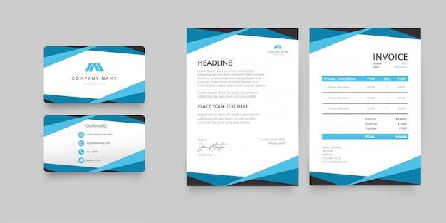 Modern briefhoofdpapierpakket met blauwe vormen