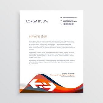 Modern briefpapier sjabloon met rode en blauwe golven