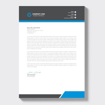 Modern briefpapier van het bedrijf met blauwe details