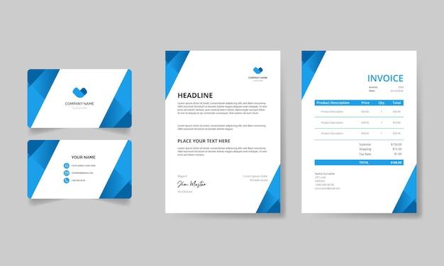 Modern briefpapierpakket met sjabloon voor hemelsblauwe vormen