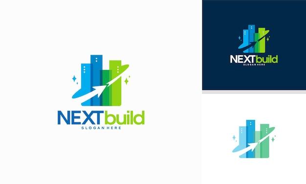 Modern building tower-ontwerpsjabloon, forward building-logo-ontwerpconcept,