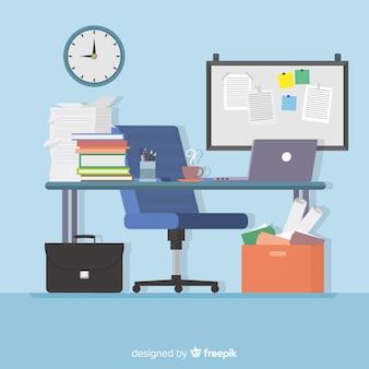 Modern bureau met een plat ontwerp
