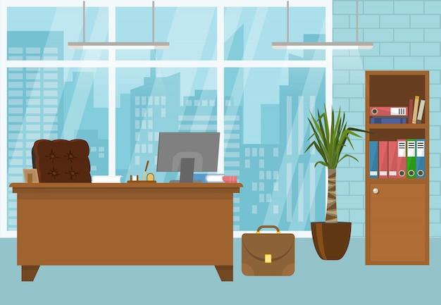 Modern bureaubinnenland in blauwe kleur met bruin meubilair frans venster met de vectorillustratie van het stadslandschap