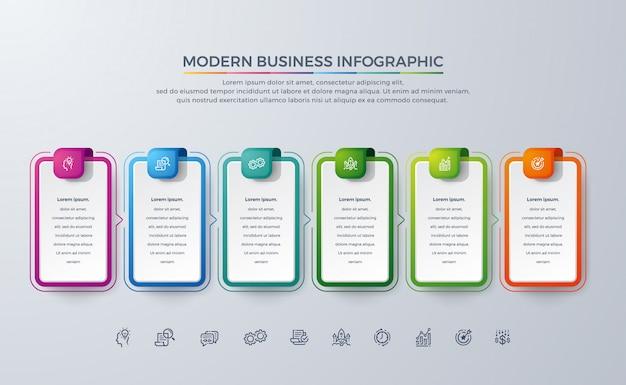Modern business infographic-ontwerp met 6 proceskeuzes of stappen.