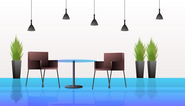 Modern café interieur leeg geen mensen restaurant met meubels horizontaal with