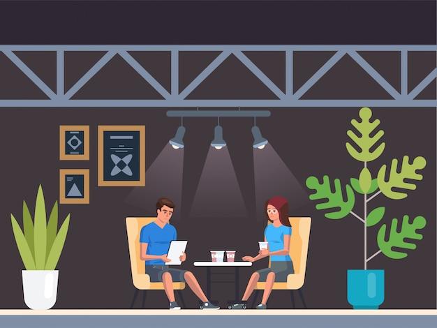 Modern café. interieur restaurant. creatief muizen coworking center. universiteits campus. coffeeshop