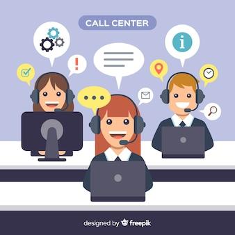 Modern callcenterconcept in vlakke stijl