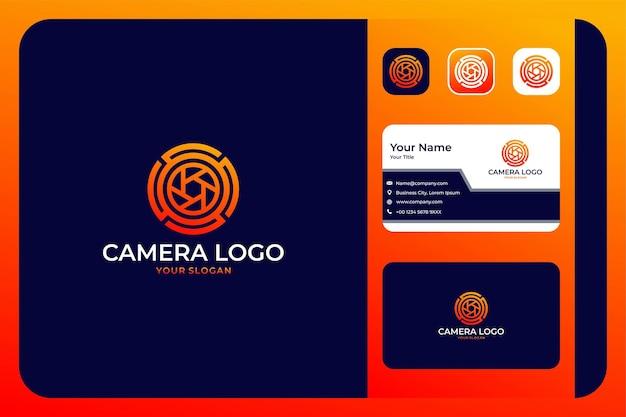 Modern camera cirkel logo ontwerp en visitekaartje