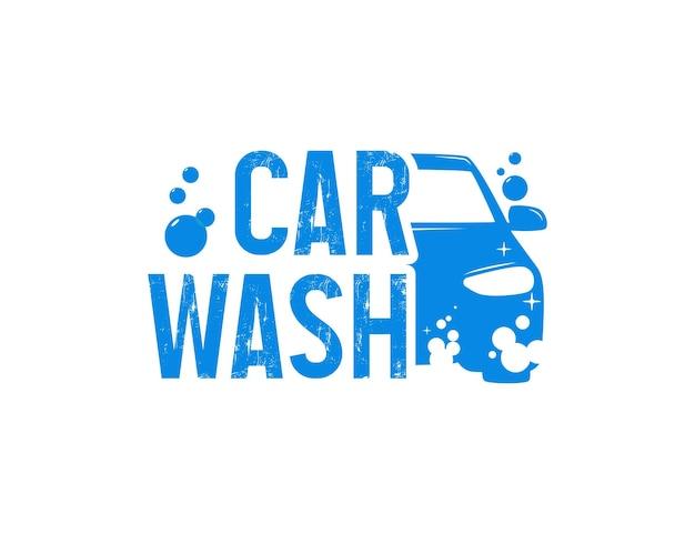 Modern carwash-logo-ontwerp met bubbelschuim