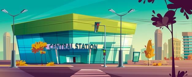 Modern centraal station op stadsstraat