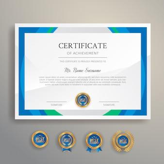 Modern certificaat met gouden insignes instellen sjabloon