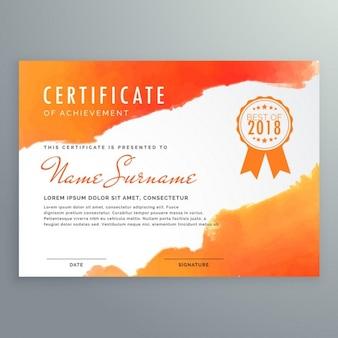 Modern certificaat ontwerp met oranje inkt