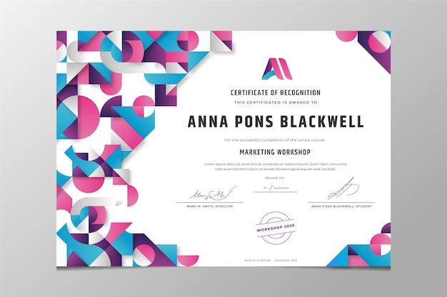Modern certificaat van erkenning