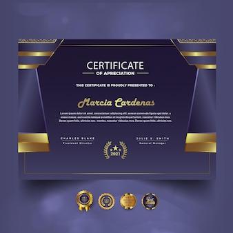 Modern certificaat van prestatie nieuw sjabloonontwerp