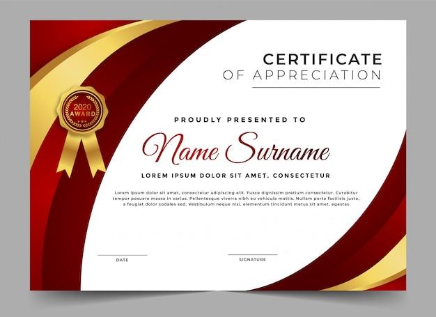 Modern certificaat van prestatie sjabloon
