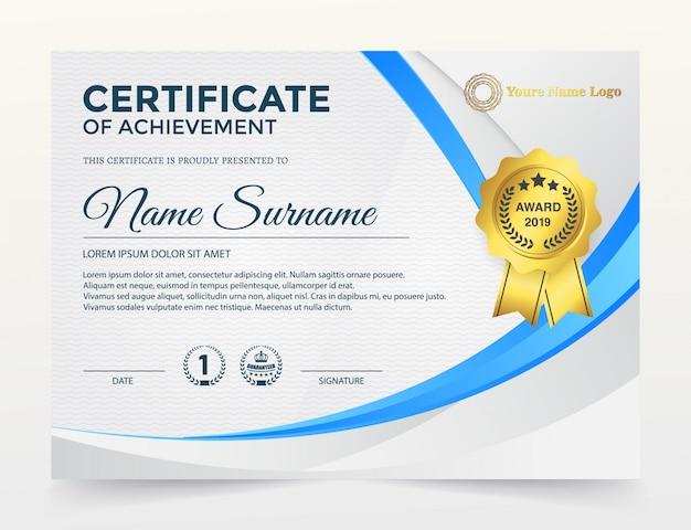 Modern certificaat van prestatiesjabloon, gouden en blauwe kleur.