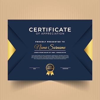 Modern certificaat van waardering sjabloon