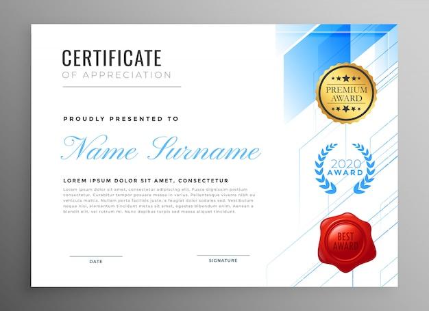 Modern certificaat van waardering sjabloonontwerp