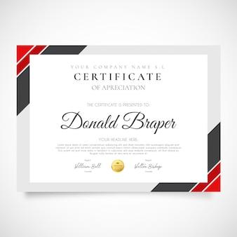 Modern certificaat van waardering
