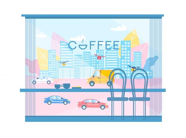 Modern city cartoon view van coffee shop windows