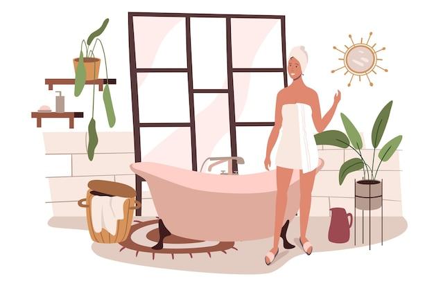 Modern comfortabel interieur van badkamer webconcept. vrouw die een bad neemt in een gezellige kamer met badkuip, woondecoratie en planten
