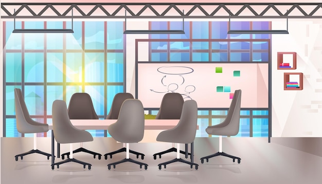 Modern coworking gebied creatief kantoor interieur leeg geen mensen open ruimte horizontale vectorillustratie